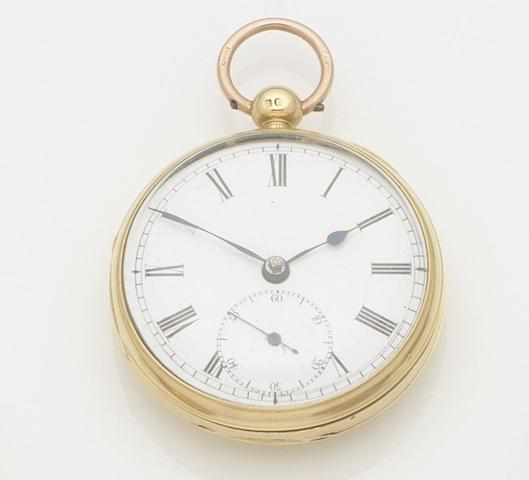 Unsigned. An 18ct gold open face key wind pocket watch Case No.806, Movement No.5908, London hallmark for 1838