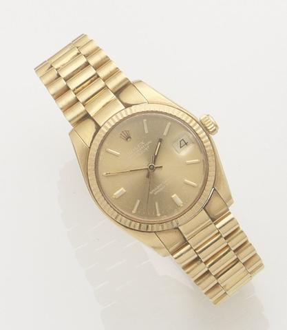 Rolex. An 18ct gold automatic calendar bracelet watchDatejust, Ref:6827, Case No.639990, Movement No.55304, Circa 1990