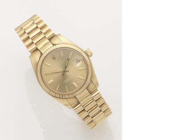 Rolex. An 18ct gold automatic calendar bracelet watch Datejust, Ref:6827, Case No.639990, Movement No.55304, Circa 1990