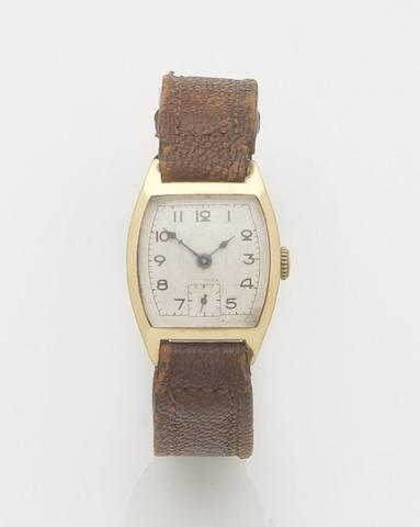 Unsigned. An 18ct gold manual wind wristwatch Case No.55828, Movement No.1.003.271, Birmingham import mark for 1924