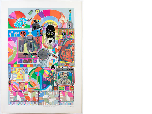 Sir Eduardo Paolozzi (British, 1924-2005) B.A.S.H (Blue-grey & Orange) Two screenprints in colours with collage, 1971, on wove, each signed, dated and numbered from the edition of 3000 in pencil, published by Dorothea Leonhart, Munich, with their blindstamp, each with full margins, 740 x 485mm (29 1/8 x 19 1/8in)(I)(unframed)(2)