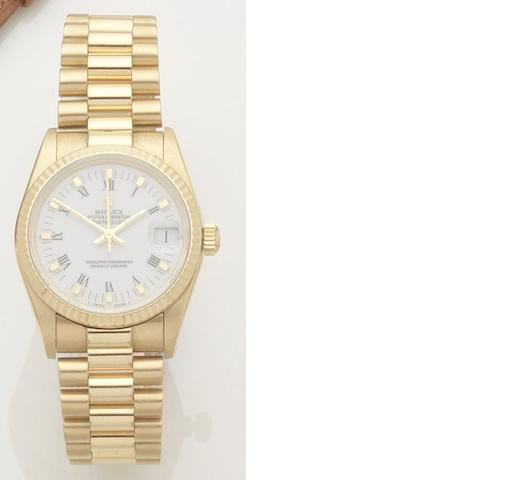 Rolex. A lady's 18ct gold automatic calendar bracelet watch Datejust, Ref:68278, Case No.8525143, Movement No.205840, 2000's