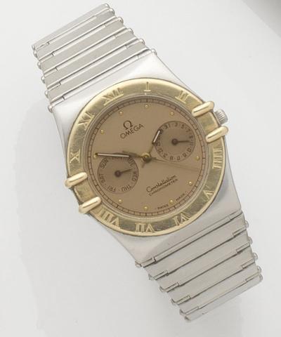 Omega. A stainless steel quartz calendar bracelet watchConstellation, Movement No.49504304, 1990's