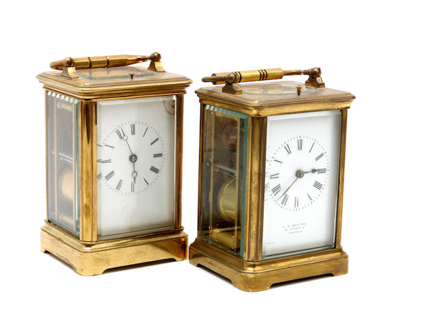 A mid 20th century brass repeating carriage clock Inscribed H.W Bedford 67 Regent St, London W