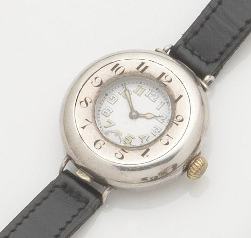 Rolex. A silver cased manual wind half hunter wristwatch Case No.1068383, London hallmark for 1918
