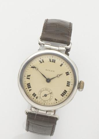 Rolex. A silver cased manual wind wristwatchCase No.1007477, London Hallmark for 1918