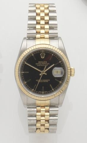 Rolex. A stainless steel and gold automatic calendar bracelet watch Datejust, Ref:16233, Case No.L549827, Movement No.5282320, Sold 1st January 1989 in Hong Kong