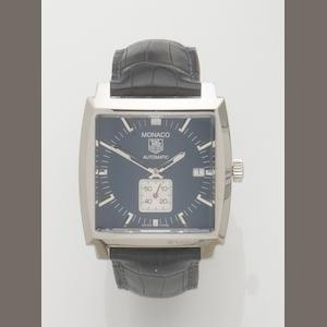 Tag Heuer. A stainless steel automatic calendar wristwatch Monaco, Ref:WW2111, Case No.VN2279, Recent