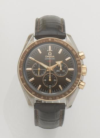 Omega. A stainless steel automatic chronograph calendar wristwatch Speedmaster Broad Arrow Co-Axial 1957, Ref:321.93.42.50.13.001, Case No.78358273, Movement No.78358373, Recent