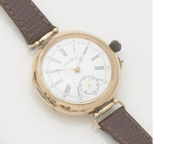 Swiss. A 14ct gold manual wind wristwatch Dial signed N.N.Boutte, Case No.76626, Circa 1915