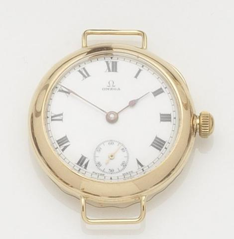Omega. An 18ct gold manual wind trench wristwatch Case No.220574, Movement No.5673504, Birmingham hallmark for 1921