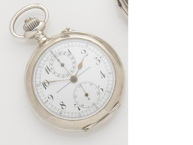 Girard-Perregaux. A silver chronograph open face pocket watch Case numbered 317968, Circa 1905