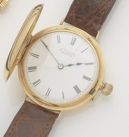 W. Williams. An 18ct gold manual wind half hunter wristwatch Movement No.42391, Birmingham hallmark for 1894