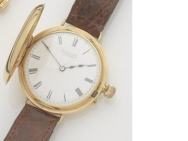 W. Williams. An 18ct gold manual wind half hunter wristwatch Movement No.42391, Birmingham hallmark for 1894