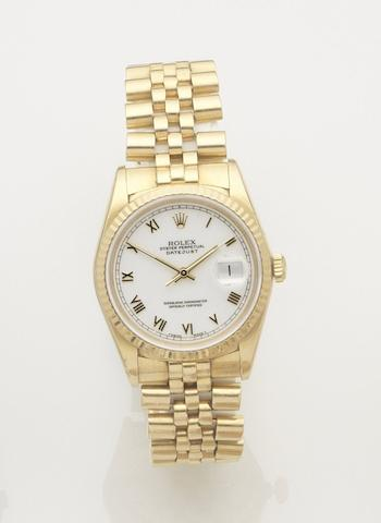 Rolex. An 18ct gold automatic bracelet watch Datejust, Ref:16238, Case No.L329704, Movement No.5743520, Sold 28 January 1994