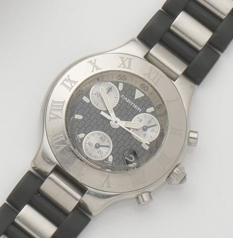 Cartier. A stainless steel quartz chronograph calendar wristwatchChronoscaph 21, Case No.242451537PL, Sold 29th September 2001