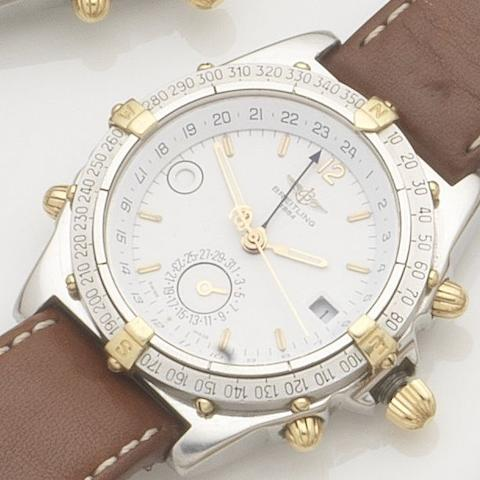 Breitling. A stainless steel and gold automatic calendar wristwatchWindrider Duograph, Ref:B11507, Case No.1-2470, 1990's