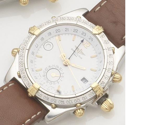 Breitling. A stainless steel and gold automatic calendar wristwatch Windrider Duograph, Ref:B11507, Case No.1-2470, 1990's