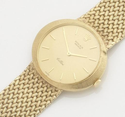 Rolex. An 18ct gold manual wind bracelet watch Cellini, Ref:3656, Case No.1289764, 1970's