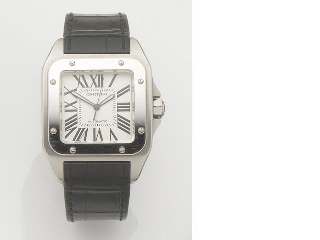 Cartier. A stainless steel oversized automatic wristwatch Santos 100, Ref:2656, Case No.733149CE, Recent