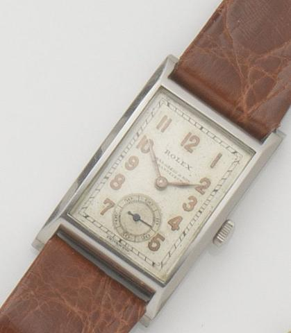 Rolex. A stainless steel manual wind wristwatchRef:2875, Case No.029770, 1930's, Retailed by Chas Greig & Son, Johannesburg