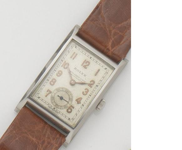 Rolex. A stainless steel manual wind wristwatch Ref:2875, Case No.029770, 1930's, Retailed by Chas.Greig & Son, Johannesburg