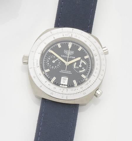 Heuer. A stainless steel automatic chronograph watch Calculator, Ref:110633, Circa 1972