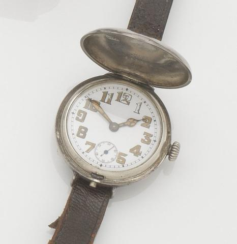 Rolex. A silver full hunter manual wind trench wristwatch Case No.685794, London hallmark 1916