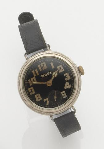 Rolex. A silver manual wind trench wristwatchCase No.654338, London Hallmark for 1915