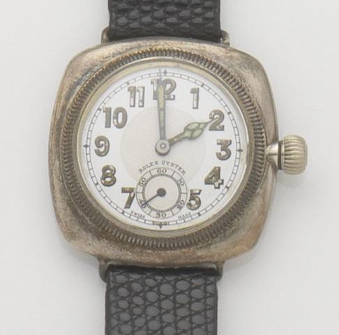 Rolex. A silver manual wind wristwatch Oyster, Ref:9250, Case No.9320, Glasgow hallmak for 1929