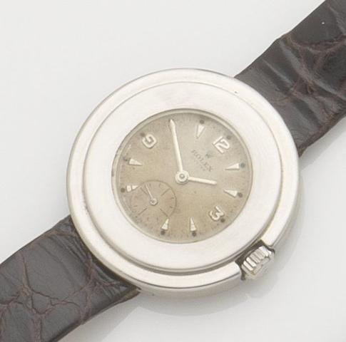 Rolex. An unusual stainless steel manual wind 'lifesaver' wristwatch Oyster, Ref:2849, Case No.36597, Movement No.8286, Circa 1936