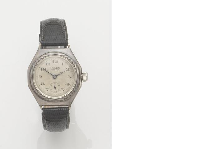 Rolex. A silver manual wind octagonal wristwatch Oyster, Ref:1416, Glasgow hallmark for ??????????????????