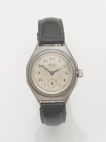 Rolex. A silver manual wind octagonal wristwatch Oyster, Ref:1416, Glasgow hallmark for ??????????????????