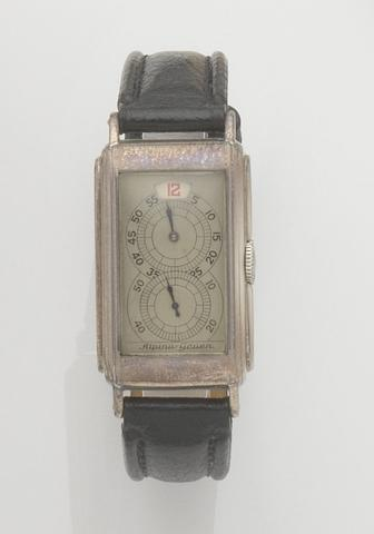 Alpina-Gruen. A nickel plated manual wind jumping hour wristwatch Case No.407226, Case No.1937861, 1930's