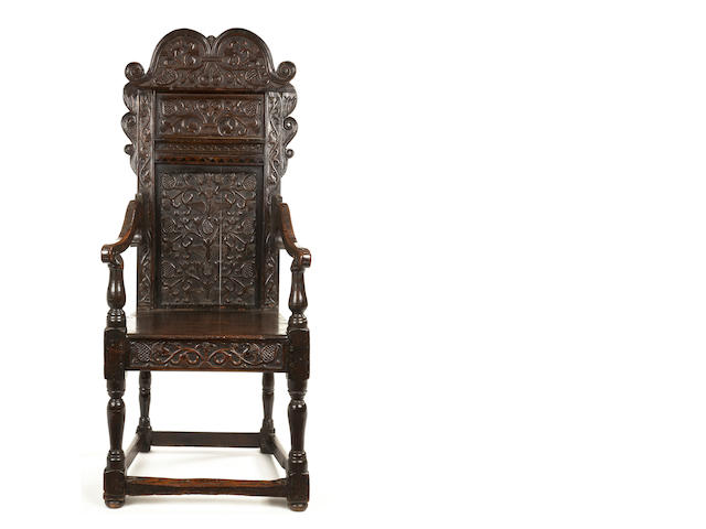 A rare unusually large Charles II ash panel back armchair South-West Yorkshire/East Lancashire, circa 1660-1680