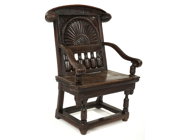 A highly unusual Charles I oak open armchair Possibly Herefordshire/Shropshire, circa 1640