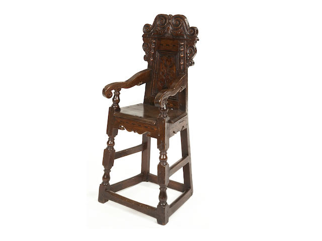 A Charles II oak and marquetry inlaid child's high chair South Yorkshire, circa 1670-80