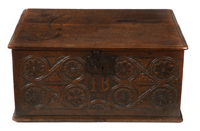 An unusually large Charles II oak boarded document box, Lake DistrictCarved with the initials 'I.B.'
