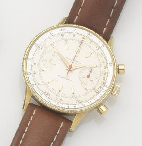 Breitling. A gold plated manual wind chronograph wristwatchChronomat, Ref:808, Case No.1014855, 1960's