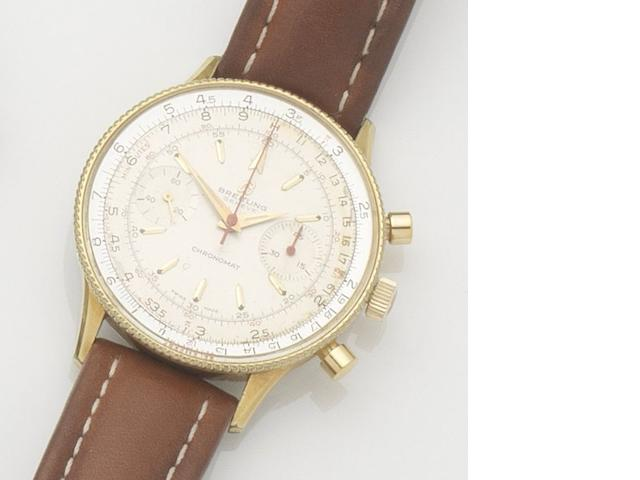 Breitling. A gold plated manual wind chronograph wristwatch Chronomat, Ref:808, Case No.1014855, 1960's