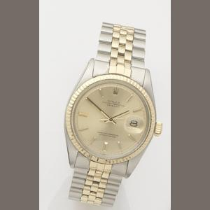 Rolex. A stainless steel and gold automatic calendar bracelet watch Datejust, Ref:1601, Case No.2763252, Movement No.D870521, 1970's