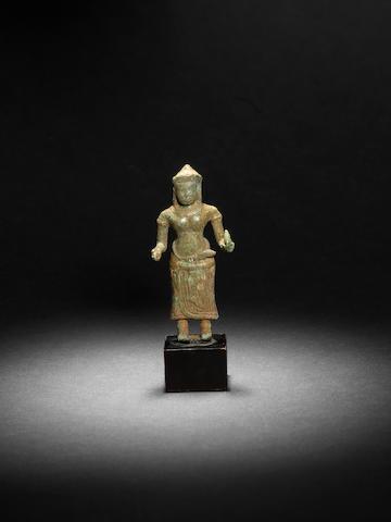 A Khmer bronze figure of Vishnu