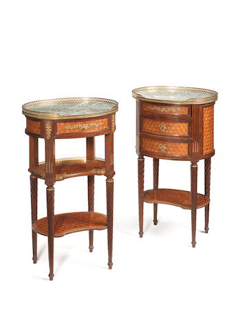 A companion pair of French late 19th century Louis XVI style ormolu-mounted mahogany and cube parquetry guéridons