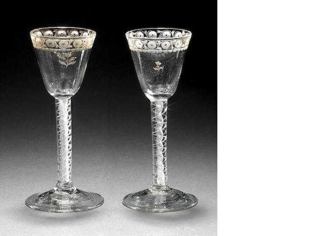 An unusual pair of joke or puzzle glasses, circa 1750
