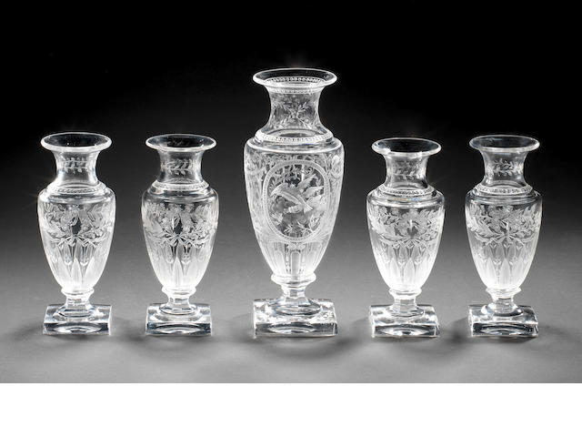 A set of five French engraved vases by E Dreyfous, circa 1865