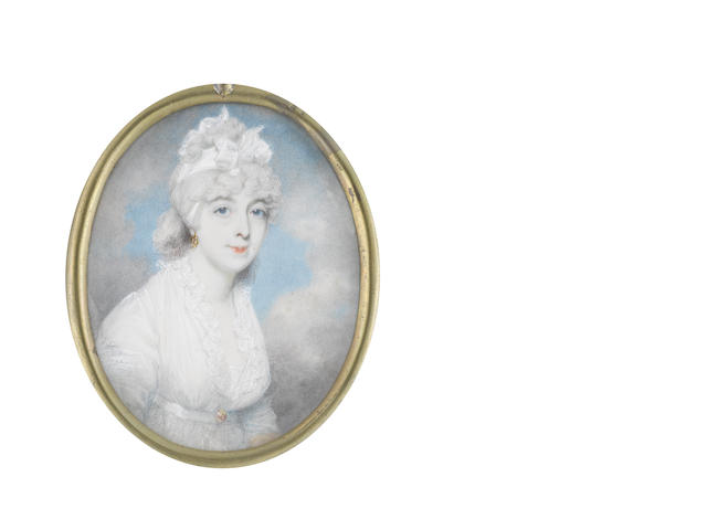 George Place (Irish, died 1805) A Lady, wearing white dress with frilled neckline and lace slip, a small gold buckle to her waistbelt, gold hoop earring, her powdered hair dressed with a tied white bandeau