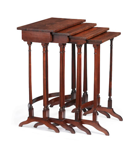 A  set of Regency rosewood quartetto tables