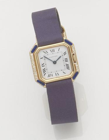Cartier. A lady's 18ct gold, diamond and lapis lazuli set manual wind wristwatch Centiure, Recent