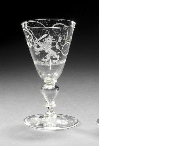 A Dutch diamond-point engraved calligraphic wine glass, attributed to Willem Mooleyser, circa 1680