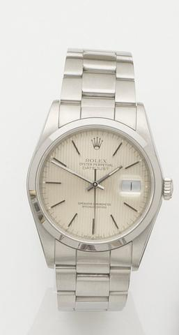 Rolex. A stainless steel automatic calendar bracelet watch Datejust, Ref:16200, Case No.R827450, Movement No.5094116, Sold 23rd Sept 1989